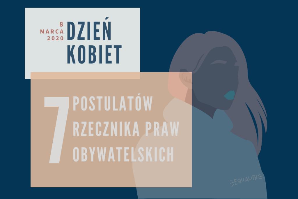 Granatowa plansza z napisem Dzień Kobiet i 7 postulatów RPO